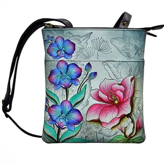 Anuschka RFID Triple Compartment Organizer Bag Handpainted Leather Floral Fantasy