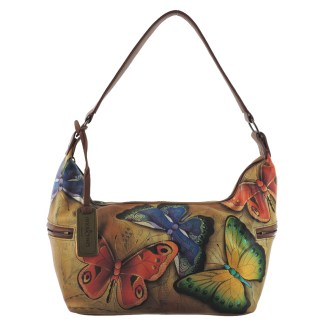 Anuschka Hand Painted Genuine Leather East West Medium Hobo Earth Song