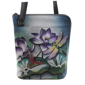 Anuschka Cross Body Travel Organizer Hand Painted Tranquil Pond