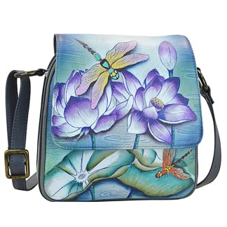 Anuschka Genuine Leather Handpainted Triple Compartment Crossbody Organizer Tranquil Pond
