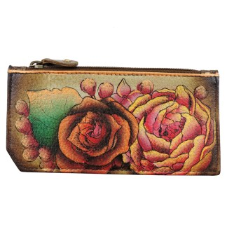 Anuschka RFID Credit Card Coin Wallet Genuine Handpainted Leather Lush Lilac- Bronze