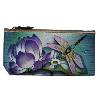 Anuschka RFID Credit Card Coin Wallet Genuine Handpainted Leather Tranquil Pond