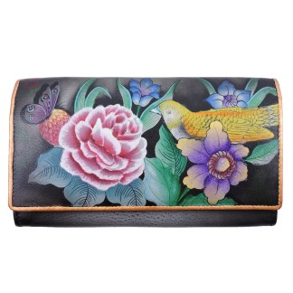 Anuschka RFID Two Fold French Wallet Genuine Handpainted Leather Vintage Bouquet