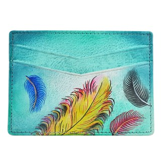 Anuschka Genuine Leather Credit Card Holder Hand Painted Floating Feathers