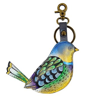 Anuschla Leather Handpainted Key Chain Purse Charm Blissful Bird