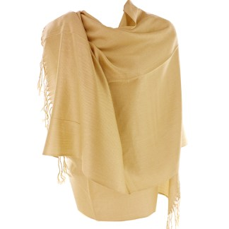 Silver Fever Nepal Solid 2 Ply Pashmina Shawl Scarf Stole Camel Beige