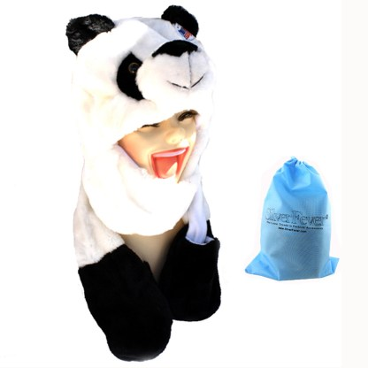 Silver Fever® Plush Soft Animal Beanie Hat w/ Built-In Mittens Paws Panda