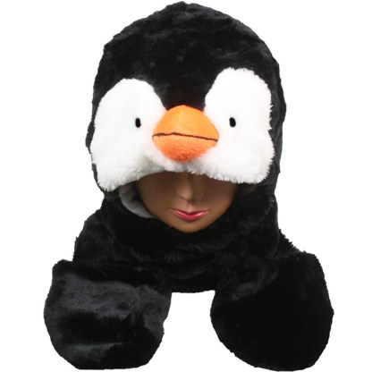 Silver Fever® Plush Soft Animal Beanie Hat w/ Built-In Mittens Paws Penguin