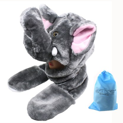 Silver Fever® Plush Soft Animal Beanie Hat with Built-in Earmuffs, Scarf, Gloves Elephant