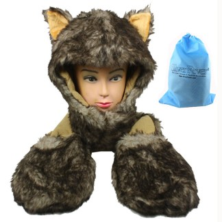 Silver Fever® Plush Soft Animal Beanie Hat with Built-in Earmuffs, Scarf, Gloves  Fluffy Brown Huscky