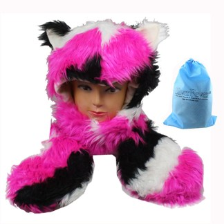 Silver Fever® Plush Soft Animal Beanie Hat with Built-in Earmuffs, Scarf, Gloves  Fluffy Fusia Bear