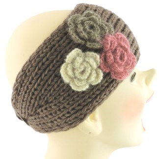 Silver Fever® Women Chunky Knitted Headband  Hair Band Head Wrap Earmuff Brown with 3 Flowers