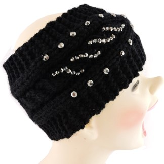 Silver Fever® Women Chunky Knitted Headband  Hair Band Head Wrap Earmuff Black with Crystals