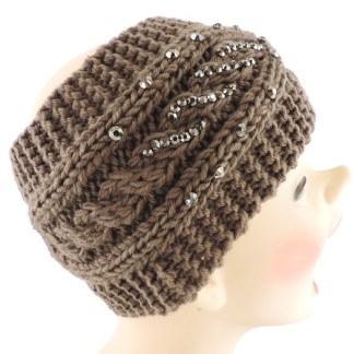 Silver Fever® Women Chunky Knitted Headband  Hair Band Head Wrap Earmuff Brown with Crystals