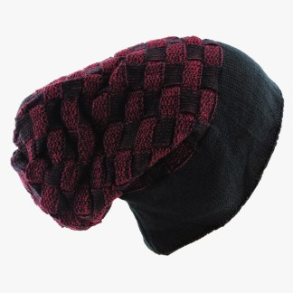 Silver Fever® Women Knitted Winter Hat Cup Ski Outdoor Sport Fashion Binnie Skullies Black Burgundy Double Sided