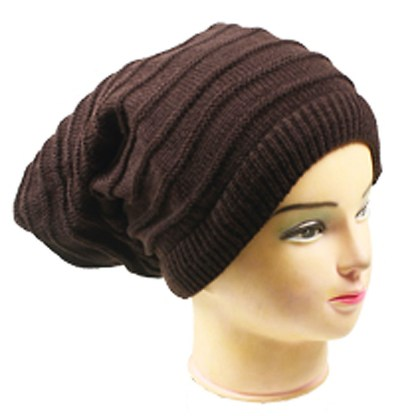 Silver Fever® Women Knitted Winter Hat Cup Ski Outdoor Sport Fashion Binnie Skullies Brown Reversible Ribbed