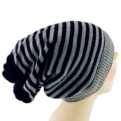 Silver Fever® Women Knitted Winter Hat Cup Ski Outdoor Sport Fashion Binnie Skullies Navy Reversible Ribbed