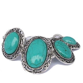Silver Fever Fashion Bracelet with Gemstone Filigree Oval Turquoise