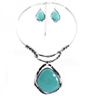 """Silver Fever Gemstone Necklace Earring Set Chocker 14""""+2"""" withTurquoise Penddant"""