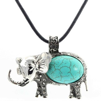 """Silver Fever Fashion Gemstone Necklace Pendant on Leather Cord Or Chain Turquoise Elephant 18"""""""