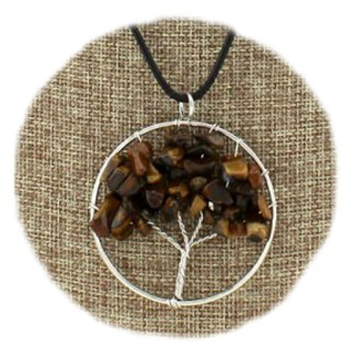 Silver Fever Fashion Gemstone Necklace Pendant on Leather Cord Or Chain Tiger Eye Family Three 18""