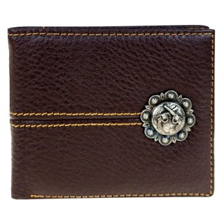 Genuine Leather Tooled Men's Wallet Coffee Guns 2 Fold