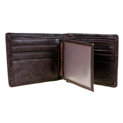 Genuine Leather Tooled Men's Wallet Black Concho 2 Fold