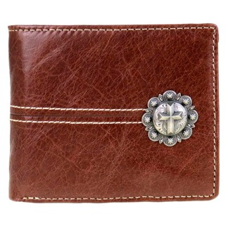 Genuine Leather Tooled Men's Wallet Brown Cross 2 Fold