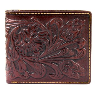 Genuine Leather Tooled Men's Wallet Coffee 2 Fold