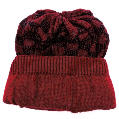 Silver Fever® Women Knitted Winter Hat Cup Ski Outdoor Sport Fashion Binnie Skullies Burgundy Black Double Sided