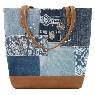 American West Bandana Shoulder Zip Top Handbag  Multi Indigo