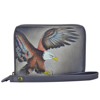 Anuschka RFID Wallet - Zip Around Organizer Wristlet - Hand Painted Leather  American Eagle