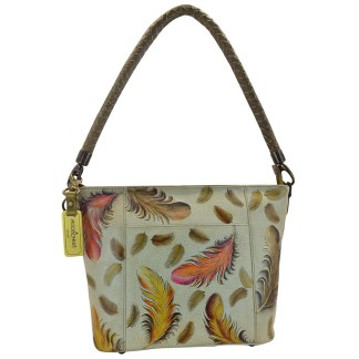 Anuschka Medium Hobo- Hand Painted Real Leather Handbag Floating Feathers Ivory