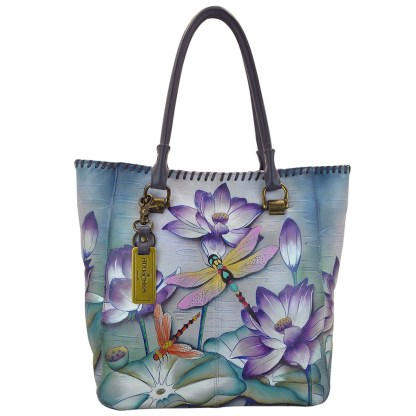 Anuschka Large Shopper- Hand Painted Real Leather Tote Handbag Tranquil Pond