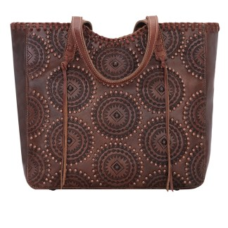 American West Leather Tote- Multi Compartment Carry on Bag Kachina Spirit Brown