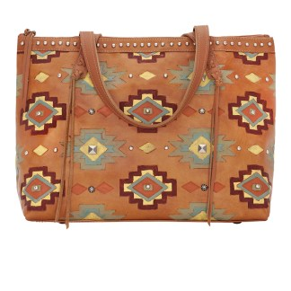 American West Leather Tote- Multi Compartment Carry on Bag Adobe Allure Golden