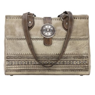 American West Leather Tote- Multi Compartment Carry on Bag Trading post