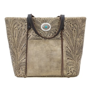 American West Leather Tote- Multi Compartment Carry on Bag Santa Barbara Sand