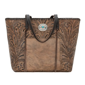American West Leather Tote- Multi Compartment Carry on Bag Santa Barbara Brown