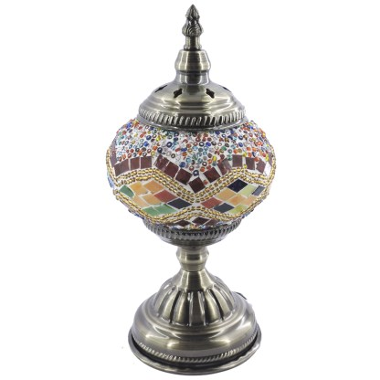 Silver Fever Handcrafted Mosaic Turkish Lamp -Moroccan Glass - Table Desk Bedside Light- Bronze Base-Multicolor Wave