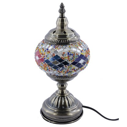 Silver Fever Handcrafted Mosaic Turkish Lamp -Moroccan Glass - Table Desk Bedside Light- Bronze Base-Neutural Wave