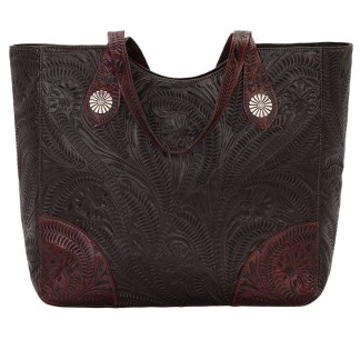 American West Leather Tote- Multi Compartment Carry on Bag Annie's Secret Consealed Carry Chocolate