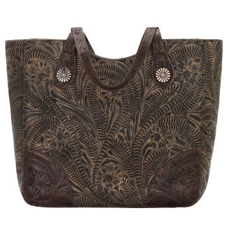American West Leather Tote- Multi Compartment Carry on Bag Annie's Secret Consealed Carry Charcoal