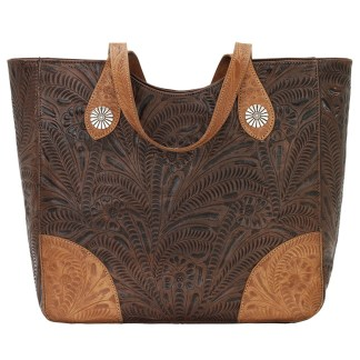 American West Leather Tote- Multi Compartment Carry on Bag Annie's Secret Consealed Carry Chestnut