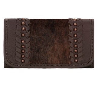 American West Leather Ladies' Tri-Fold French Wallet Cow Town Chocolate w Hair