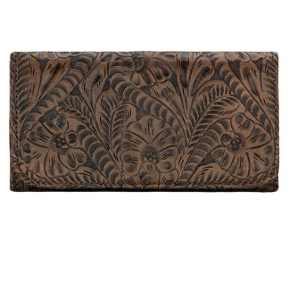 American West Leather Ladies' Tri-Fold French Wallet Annie's Secret Distressed Charcoal
