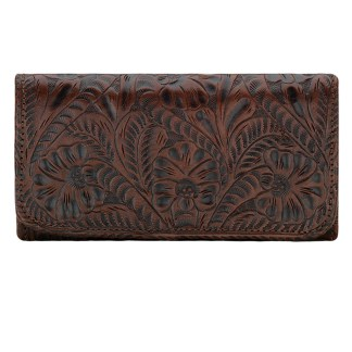 American West Leather Ladies' Tri-Fold French Wallet Annie's Secret Chestnut