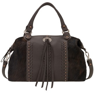 American West Satchel-Leather Zip Top Convertible Bag Cow Town Chocolate w Hair