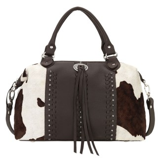 American West Satchel-Leather Zip Top Convertible Bag Cow Town Chocolate Pony Hair