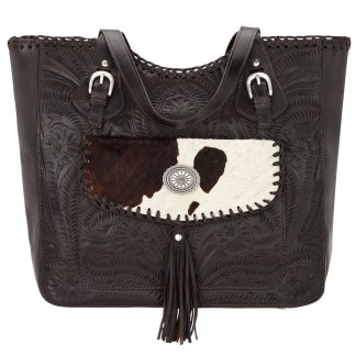American West Leather Tote- Multi Compartment Carry on Bag Annie's Secret Consealed Carry Chocolate  Pony Hair
